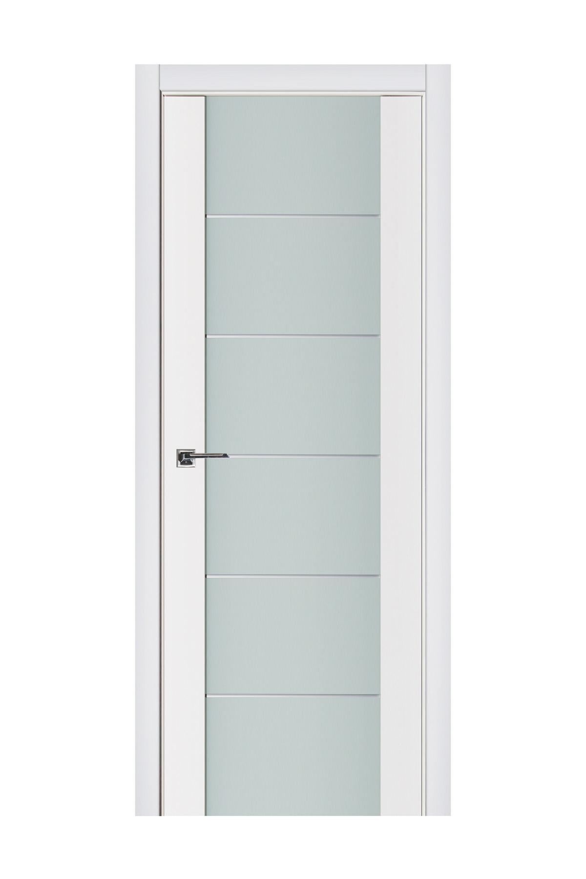 Triplex 008 White Wood Lacquered Modern Interior Door