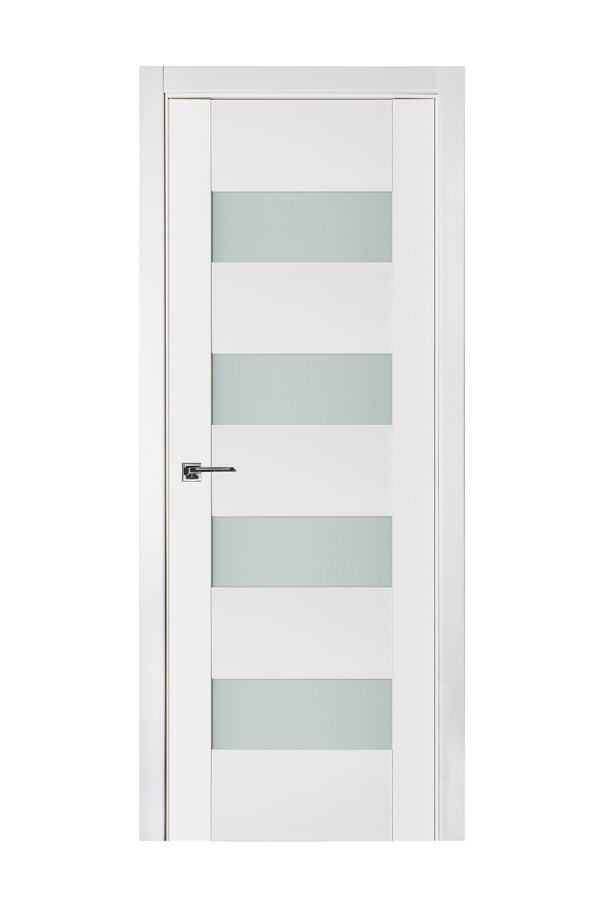 Triplex 017 White Wood Lacquered Modern Interior Door