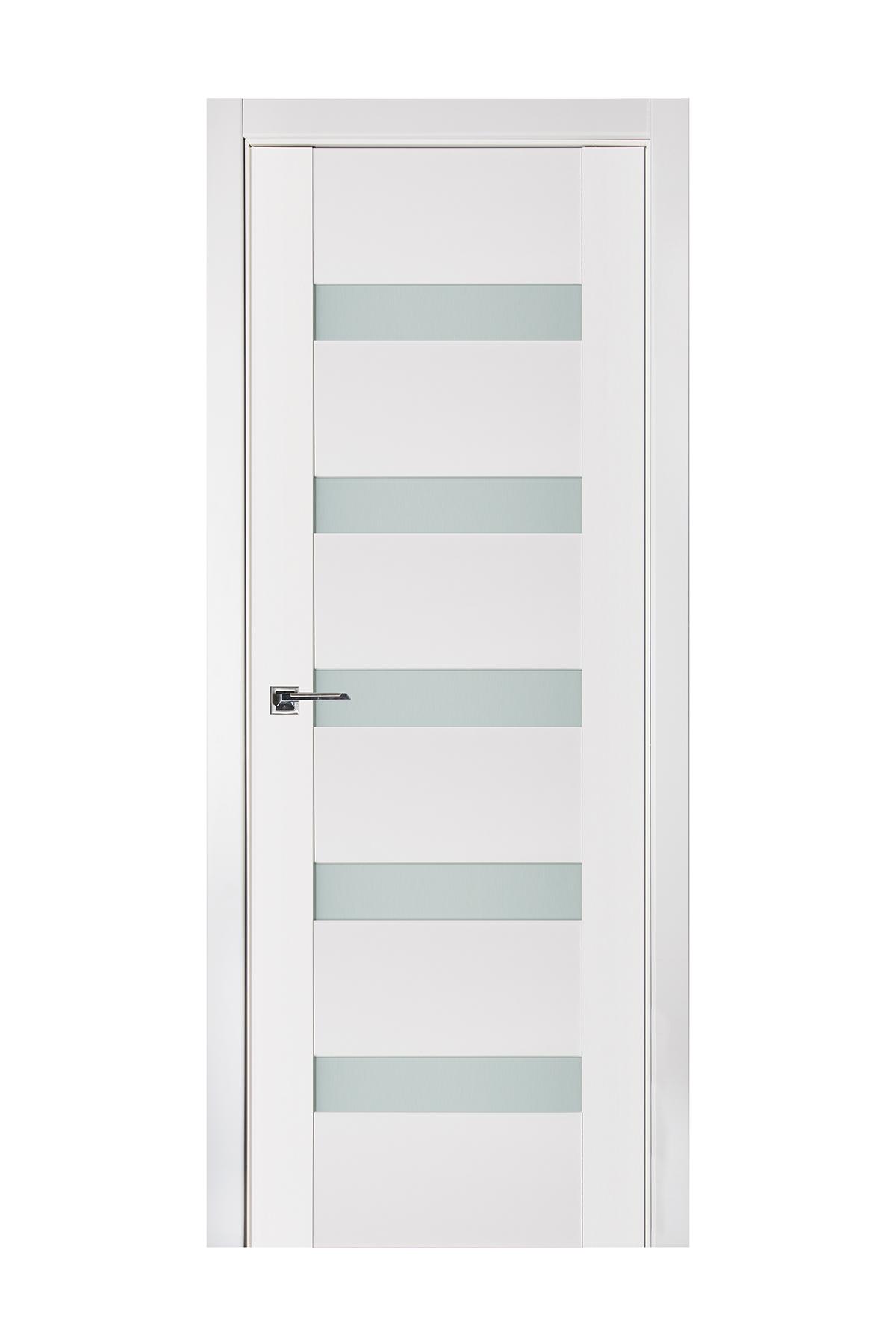 Triplex 018 White Wood Lacquered Modern Interior Door