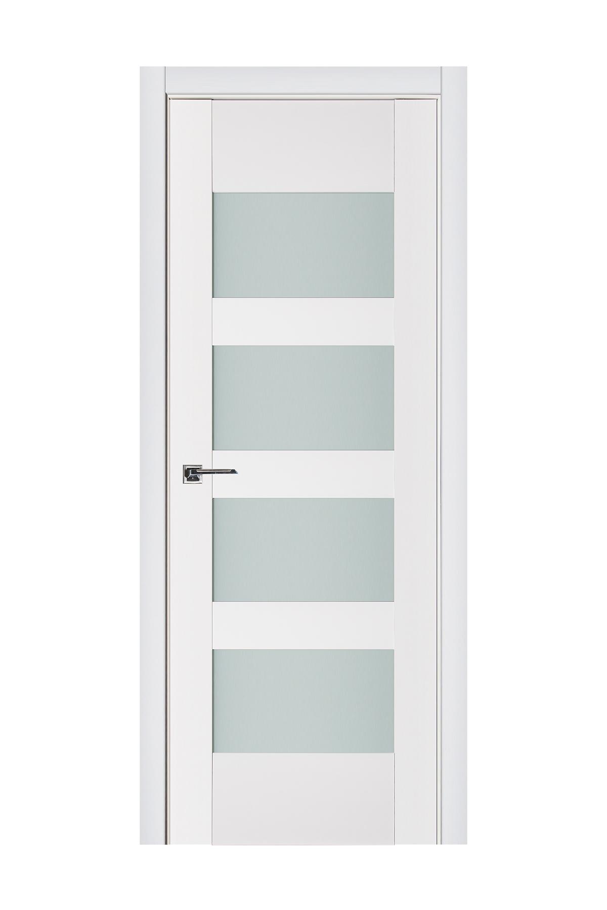 Triplex 035 White Wood Lacquered Modern Interior Door