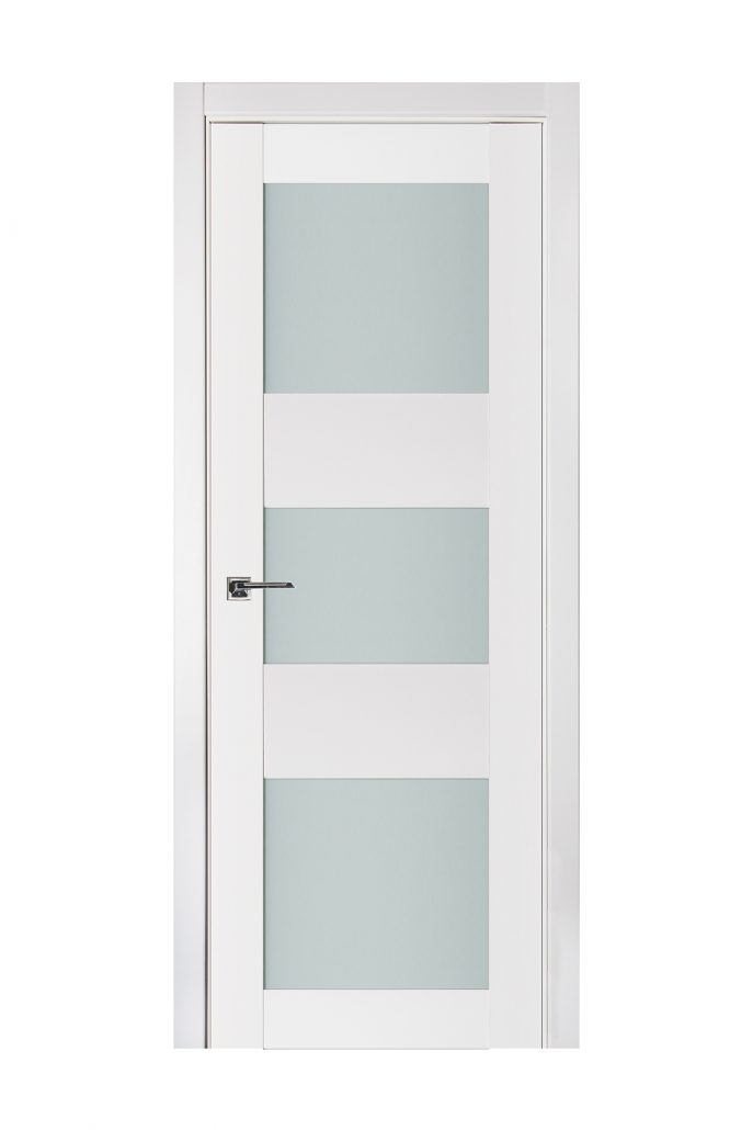 Triplex 044 White Wood Lacquered Modern Interior Door