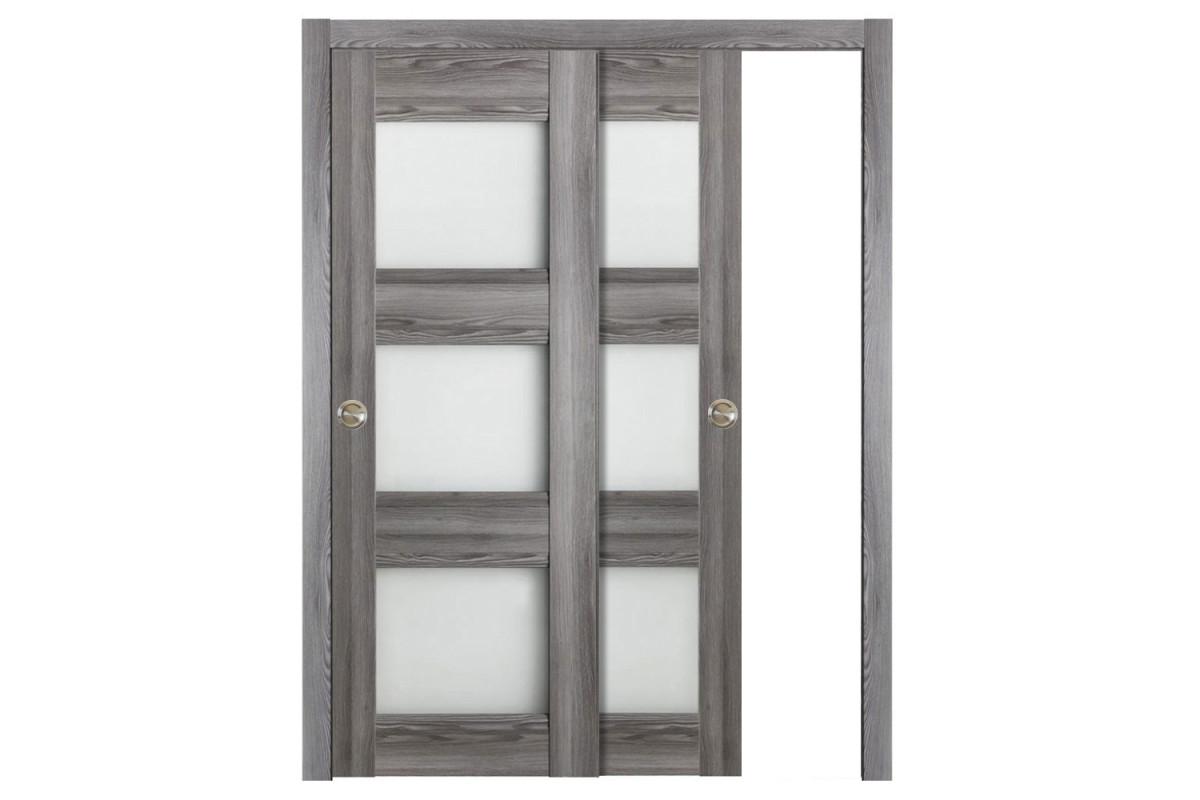 Modern Interior Door Domino G3 Gray Oak - Bypass Door Configuration