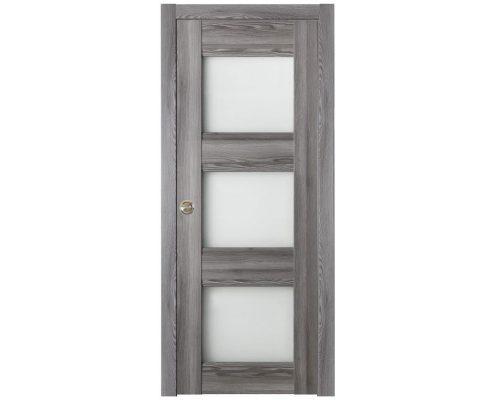 Modern Interior Door Domino G3 Gray Oak - Pocket Door Configuration