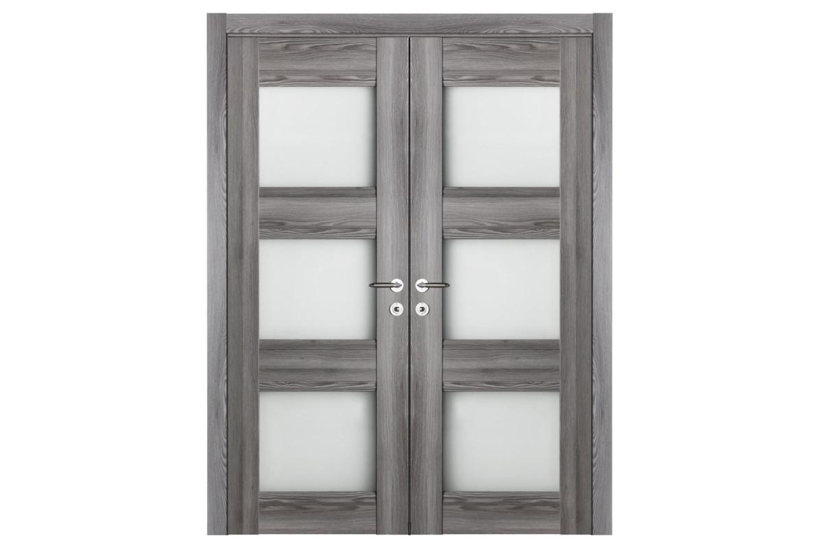 Modern Interior Door Domino G3 Gray Oak - Double Door Configuration