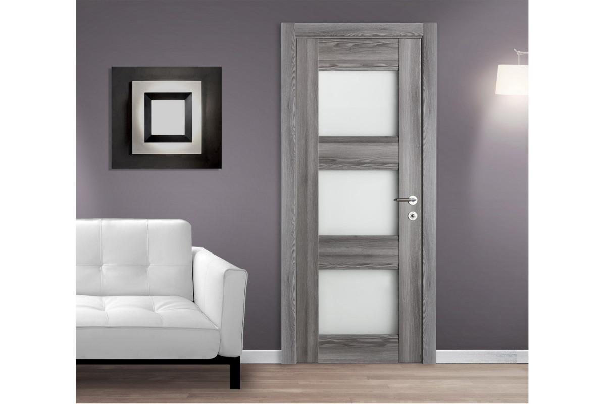 Modern Interior Door Domino G3 Gray Oak - Installed Single Door