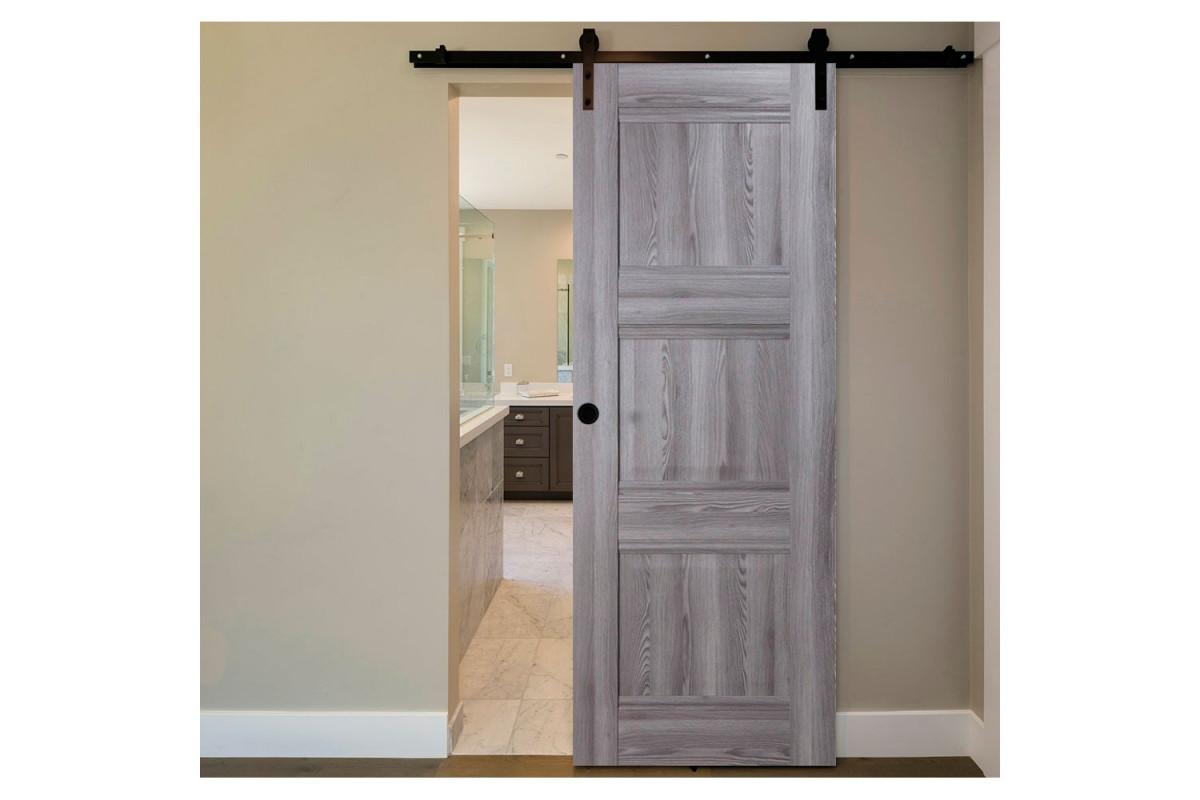Modern Interior Door Domino P3 Gray Oak - Barn Door Configuration