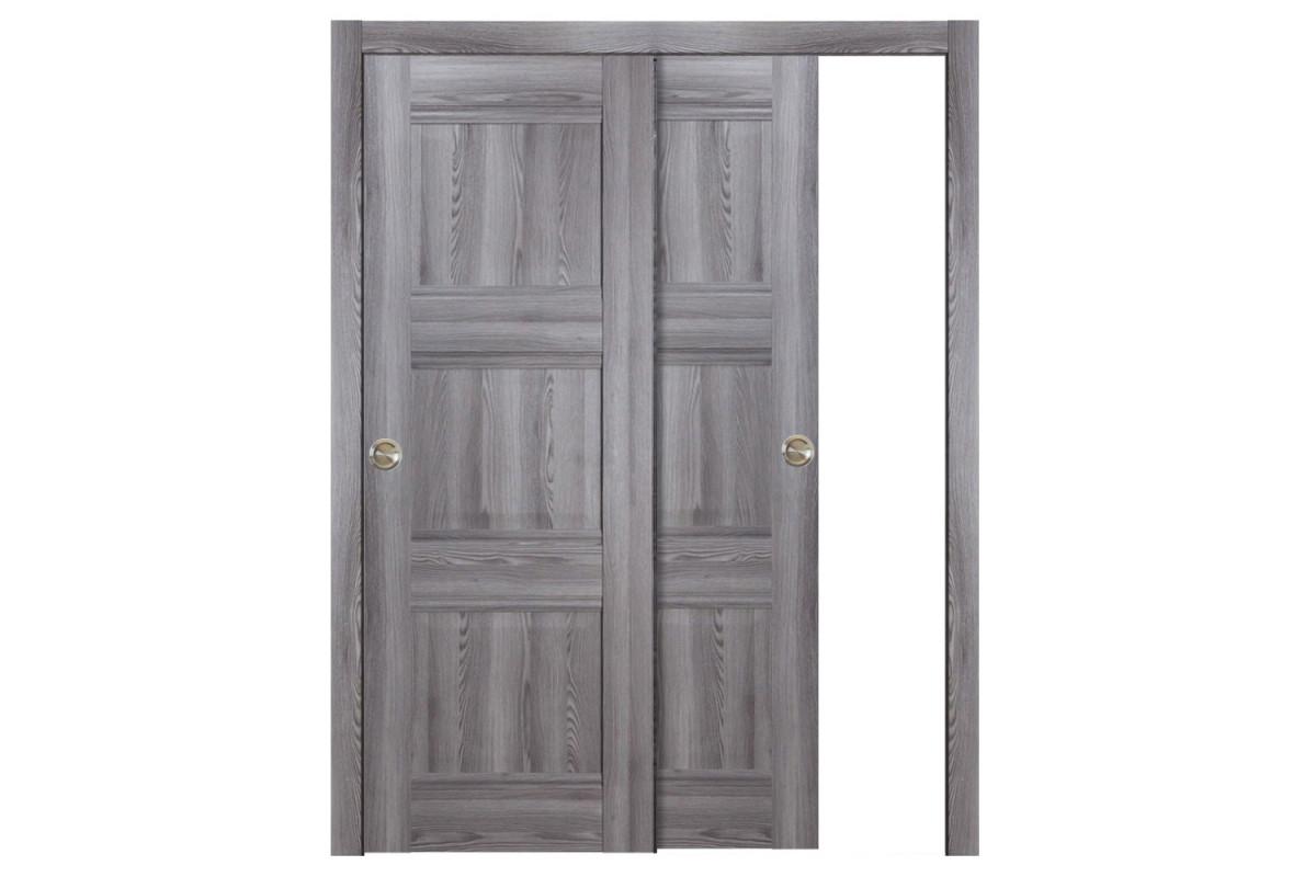 Modern Interior Door Domino P3 Gray Oak - Bypass Door Configuration
