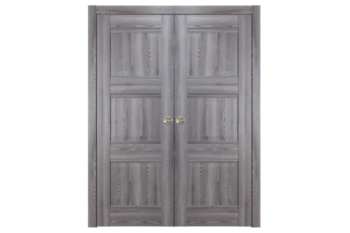 Modern Interior Door Domino P3 Gray Oak - Double Pocket Door Configuration
