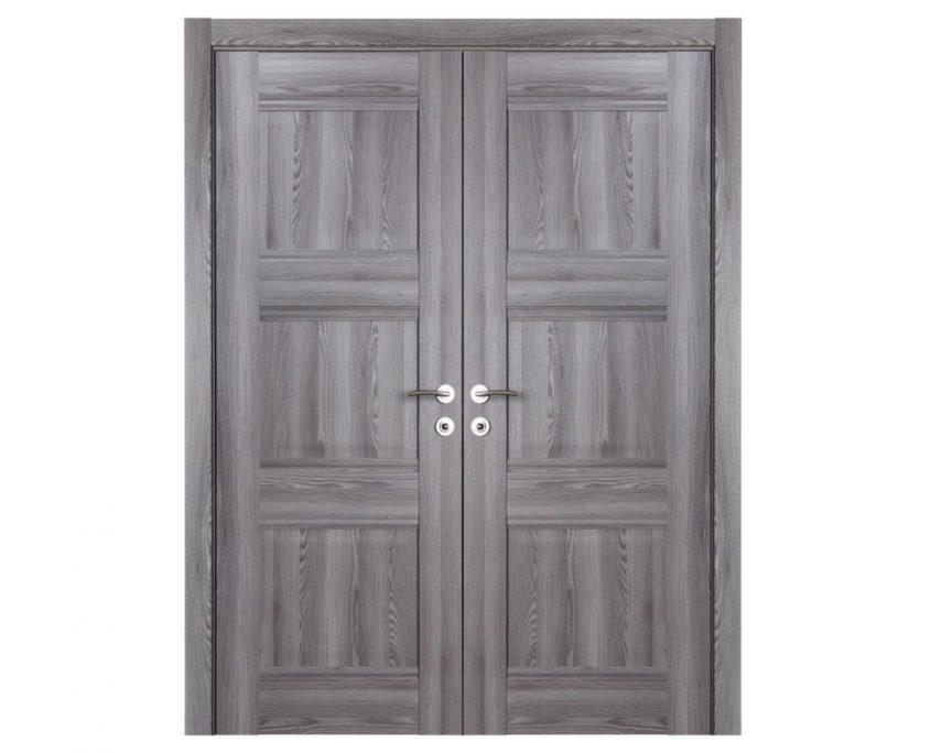 Modern Interior Door Domino P3 Gray Oak - Double Door Configuration
