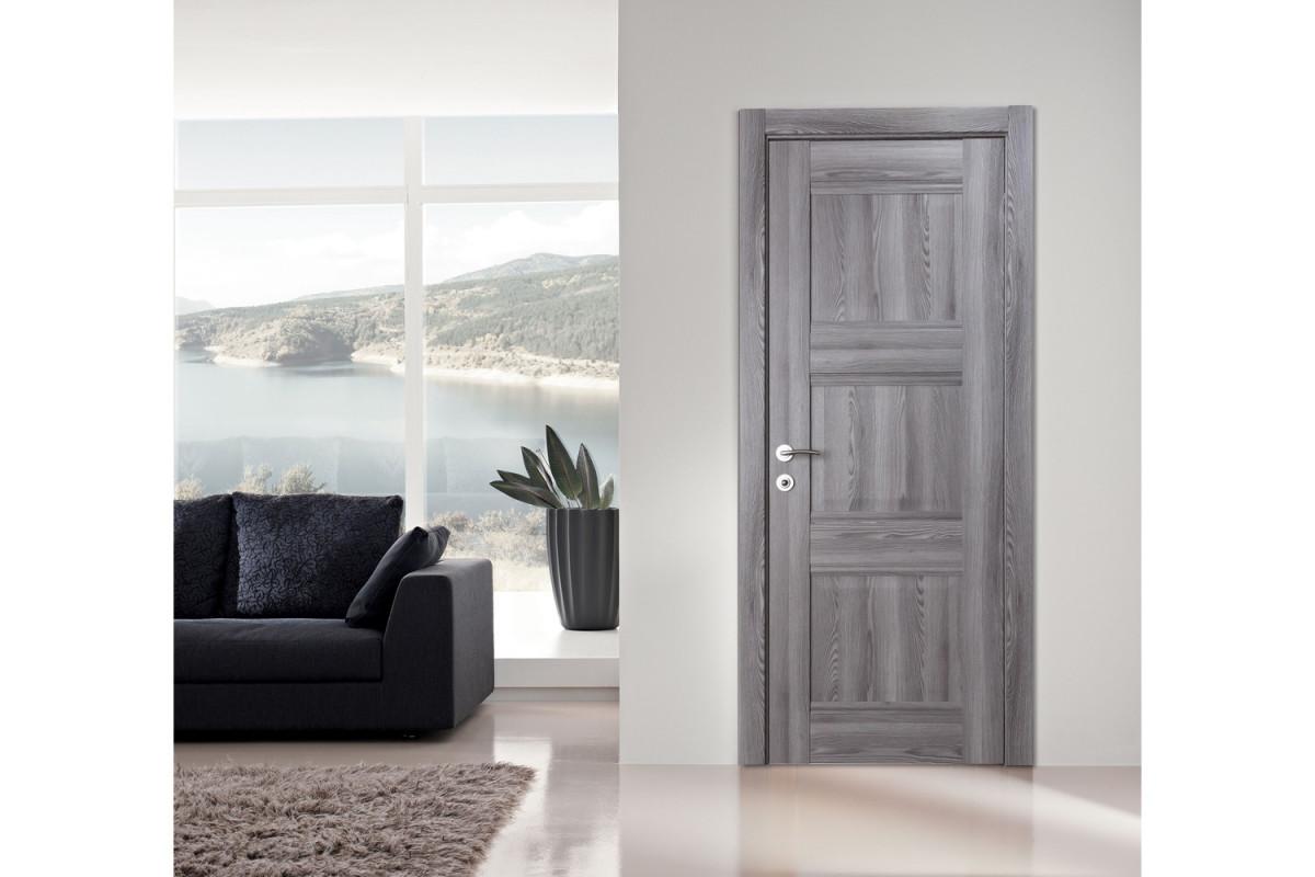 Modern Interior Door Domino P3 Gray Oak - Installed Single Door